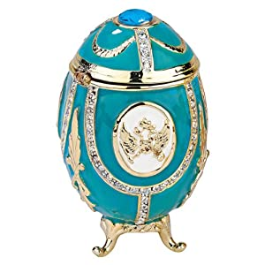 Design Toscano FH89334 Russian Imperial Eagle Collection Romanov Style Enameled Egg, Teal Green, Blue, 5 x 5 x 7.5 cm
