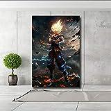 QJXX Impressions sur Toile Oeuvre Peintures Dragon Ball Goku Super Saiyan HD Image Affiche Décoration pour La Maison Mur Art,B,60 * 80Cm