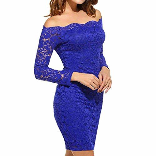 Sexy Kleid Blau (Schlank Kleid Damen, Sunday 2018 Neues Design Frühling Frauen Vintage Schulterfrei Spitze Abendkleid Langarm Kleid Frühling Sommer Herbst Winter Elegant Solide Kleid (Blau, L))