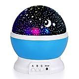 HUI JIN 360 drehbare Nachtlicht-Projektor mit Mond- und Stern-Muster, träumige romantische dekorative Beleuchtung Lampe für Baby Kinderzimmer Kinderzimmer