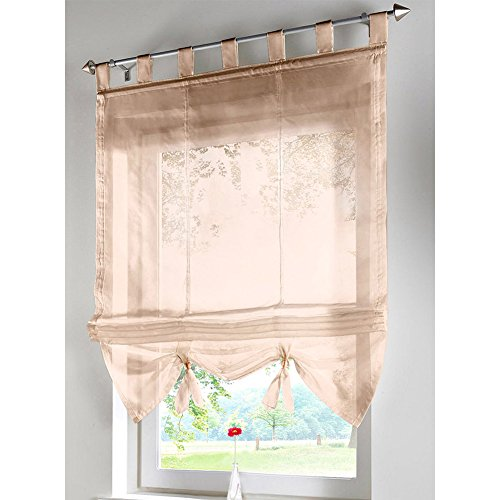 1er-Pack Raffrollo Voile Transparent Gardinen mit Schlaufen Vorhänge Vorhang