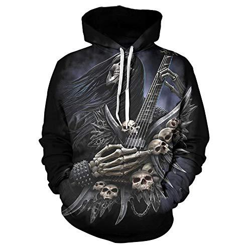 comehai Herren Sweatjacke mit Kapuze Slim Fit Modernes Hoodie-Cardigan Langarm Männer Schwarze Freizeit-Kapuzen-Jacke für Winter Skull Series 3D Sweater Weiß XS
