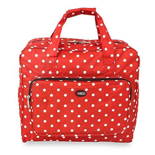 Bolsa de transporte para la máquina de coser con diseño de color rojo a lunares