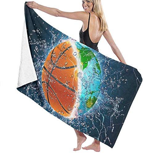 "xcvgcxcvasda Serviette de bain, Basketball Earth and Water Personalized Custom Women Men Quick Dry Lightweight Beach & Bath Blanket Great for Beach Trips, Pool, Swimming and Camping 31""x51"""