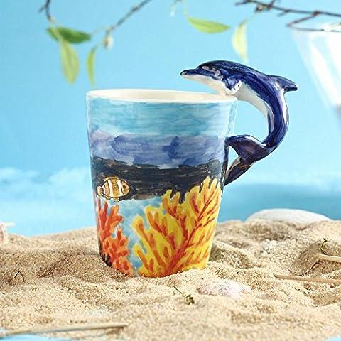 ZIMEI Fatto a mano 3D Dolphin in ceramica tazze, tazzine, ad alta temperatura, forno a microonde 420ml , 2 set - Starbucks Tazze E Tazzine