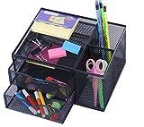 #4: Callas Metal Mesh Multi-Purpose Desktop Organizer Plus- 1 Set of Memo, Strips and Pen, CA 2787, Black