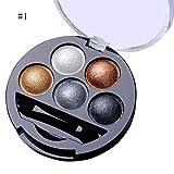 Amorar Lidschatten Palette, 5 Farben Highlight Lidschatten Palette Professional Eye Glitter Make-up Set mit Kosmetik Pinsel