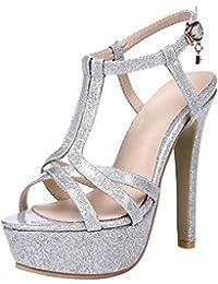 c42e7fd10ef4f Amazon.it  sandali argento con tacco - Scarpe da donna   Scarpe ...