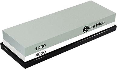 BearMoo Abziehstein, 2-IN-1 Wetzstein Schleifstein für Messer, Körnung 1000/4000 mit rutschfestem Silikonhalter