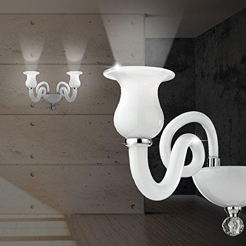 Mundgeblasenes Glas Wandlampen (MIA Light Murano Wand Leuchte Klassisch/ Weiß/ Glas/ Lampe Mundgeblasen Wandlampe Wandleuchte)