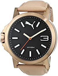 PUMA Ultrasize 45 Men's Quartz Watch with Black Dial Analogue Display and Beige Leather Strap PU103462005