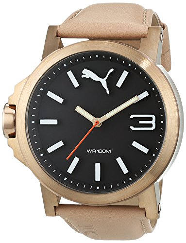 puma-ultrasize-45-mens-quartz-watch-with-black-dial-analogue-display-and-beige-leather-strap-pu10346