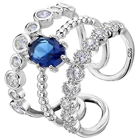 EVER FAITH® 925 Sterling Silver Oval Prongs CZ Three Layers Sapphire Color Adjustable Engagement Ring N07271-2 - 925 Polsino Di Gioielleria