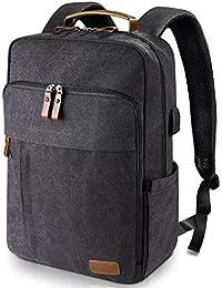 Estarer Sac à Dos Ordinateur Portable 15.6 Pouces en Toile Vintage Sac Homme Business Backpack pour Travail Ecole Gris