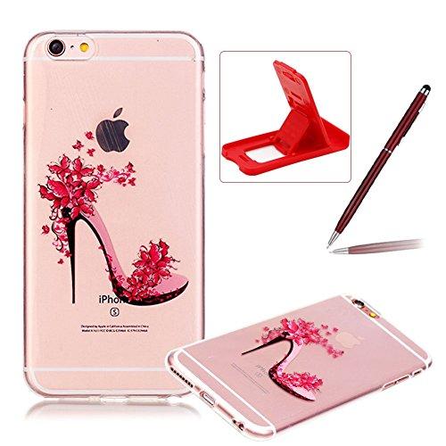 Pour iPhone 6S caoutchouc cas coque,iPhone 6 housse ,Herzzer transparente Case housse for iPhone 6S,[Fleur chaussures à talons hauts Modèle] Résistant aux rayures Ultra mince Doux TPU Gel Silicone tra Fleur chaussures à talons hauts