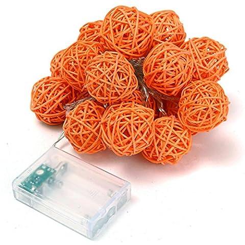 Switchali 9.8 FT/ 3M 20 LED rotin boule de feux de fées pour fête de mariage de Noël (Orange)