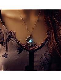 Luna estrella que brilla intensamente collar de la joyería colgante en 45,72 cm, color turquoise azul