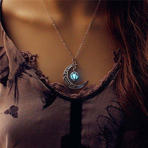 """Luna, stella luminosa in lega Jewelry-Collana con ciondolo placcato (18"""") 45,72 cm, colore: turchese"""