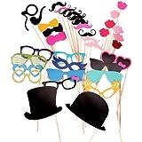 36pcs moustache lèvre lunettes loup masque avec bâton pour Masquerade