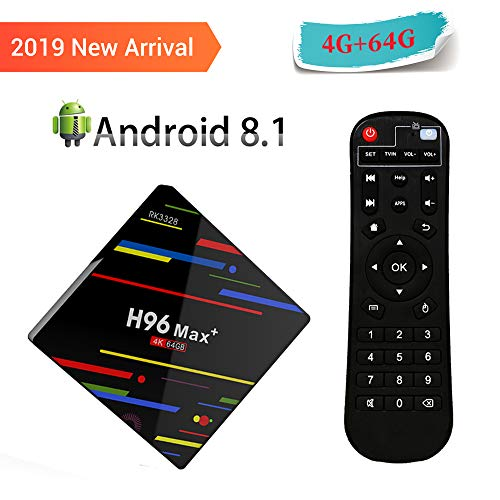 H96 Max Plus Android 8.1 TV Box ,4 GB RAM 64 GB ROM RK3328 Quad-Core-64Bit-Cortex-A53 Processor, 2.4 GHz / 5.0 GHz WiFi 100M LAN 4K 3D H.265 USB3.0 Bluetooth 4.0