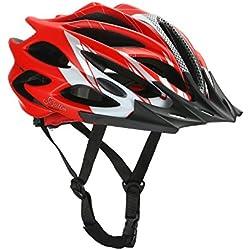 Cascos Para Hombre Y Mujer - Casco Ciclismo Y Bicicleta Carretera Moto Adulto, No Es Para Niños, Rojo Y Gris (60-64 CM )