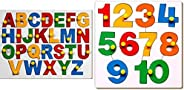 Little Genius English Alphabets - Uppercase with Knob & Little Genius Number Puzzle - 1 to 10 with