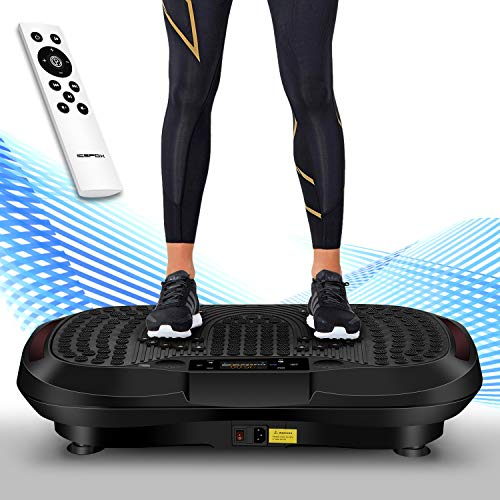 icefox Profi 3D Dual-Motor Fitness Vibrationsplatte mit Bluetooth 4.0 Lautsprecher | LCD Display & Fernbedienung| 10 Trainings-Programme-180 Level