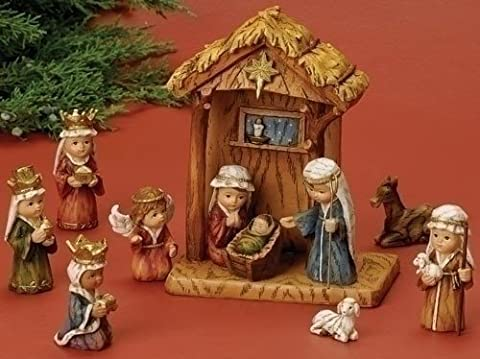 WoodWorks 11-Piece Nativity Set Featuring Children as The Holy Family an Angel, a Shepherd with Sheep and 3 Kings, 8-Inch by Wood Works
