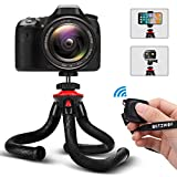 Handy Stativ, Blitzwolf 28.5cm Flexibel Stativ mit Bluetooth Fernbedienung und Stativ für iPhone, Android Smartphone, DSLR Kamera, 360 Video Action Cam(Schwarz)