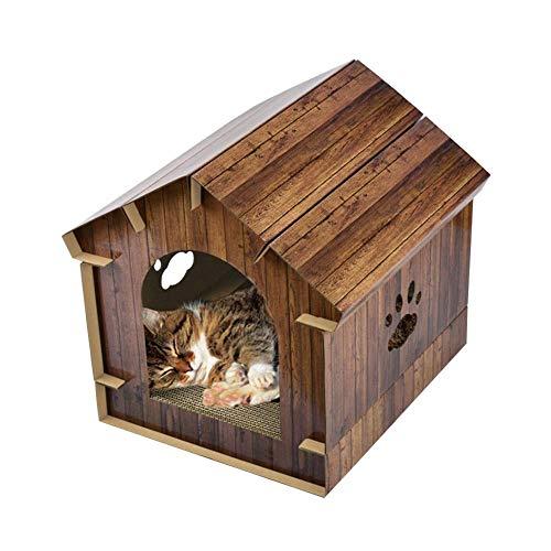 Zezego Maison de Chat, 3-en-1 simulé Grain de Bois Maison de Chat en Carton ondulé Chat Scratch Board abris pour Animaux de Compagnie