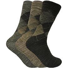 3 pack hombre invierno lana estampados calcetines para botas de agua