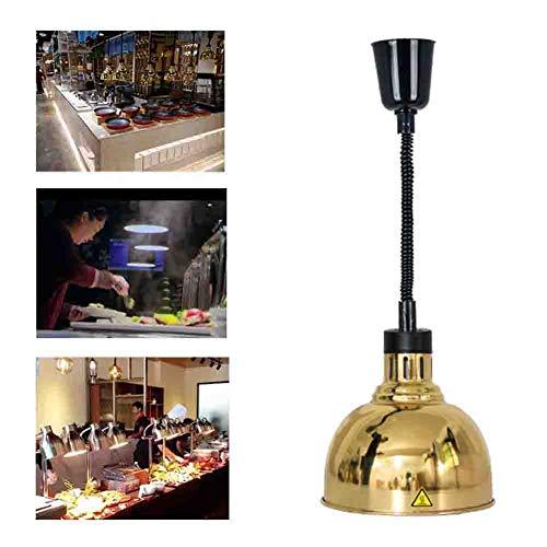 Schwarz-gold-buffet-lampe (Food Heating Lamp Galvanik Lampenschirm Teleskop Kronleuchter Buffet Lebensmittel Heizung Lampe Lebensmittel Display Isolationslampe Lampe zum Erhitzen von Lebensmitteln 220V,Gold)