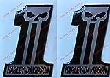 Wappen Logo Decal Harley Davidson, Number One, Skull, Paar Aufkleber harzbeschichtet, Effekt 3d. Für Benzintank oder Helm