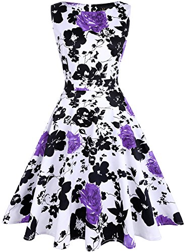 Ihot da donna vintage anni rockabilly retro elegante stampa floreale cocktail sera swing party dress 16-purple m