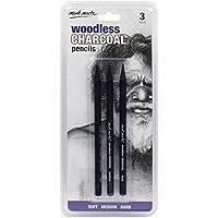 MONT MARTE Lapices Carboncillo - 3 piezas - Carbón Negro con diferentes grados de dureza - Lápices de Carbón ideales para dibujos impresionantes - Perfecto para Principiantes, Profesionales y Artistas