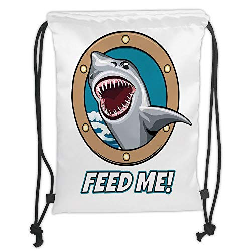 Fashion Printed Drawstring Backpacks Bags,Sea Animal Decor,Funny Vintage Quote with Hungry Hound Shark Head in Ship Window Humor Print,Multi Soft Satin,5 Liter Capacity,Adjustable String Closure,T