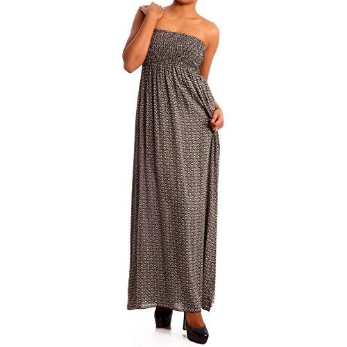 Donna Hippie Bandeau Long Dress maxi dell'abito Grigio