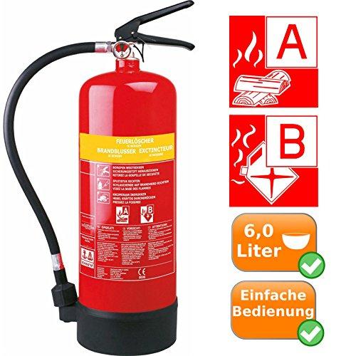 Preisvergleich Produktbild 6 Liter Schaumlöscher mit Halterung zum Löschen brennender Feststoffe+Flüssigkeiten, Brandklasse A+B