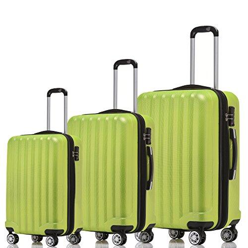 BEIBYE TSA-Schloß 2080 Hangepäck Zwillingsrollen neu Reisekoffer Koffer Trolley Hartschale Set-XL-L-M(Boardcase) in 12 Farben (Grün, 3tlg. Kofferset)