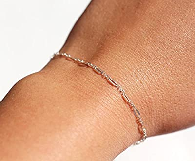 Bracelet chaîne très fine - Bracelet en argent massif 925 - Gourmette fine - bracelet minimaliste - bracelet de tous les jours - bijoux fin
