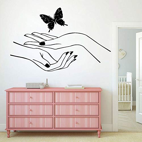 ljradj Hot Nail Salon Schmetterling Wandtattoo Wohnzimmer Removable FürKinderzimmer Wohnkultur KunstdekorTapete56 cm X 88 cm