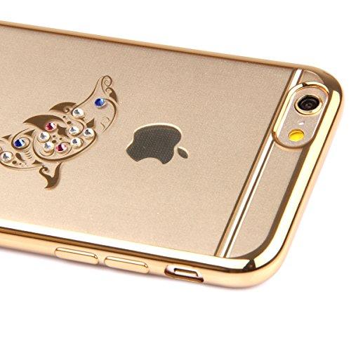 SainCat Coque iPhone 6 Plus, Housse Retour Hard Case Bumper Skin Shell,Brilliant Effect de Protection Pare-Chocs Complete Protecteurs,Transparente Clair TPU, iPhone 6S Plus silicone souple Bling Cryst dauphin