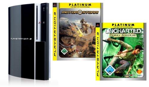 PlayStation 3 - Konsole 80 GB inkl. 2 Controller + MotorStorm und Uncharted: Drakes Schicksal - Konsole 80 Ps3