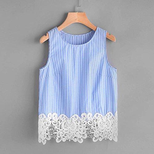 OverDose Damen Lace Chiffon Vest Top Sleeveless Casual Tank Blouse Summer Tops T-Shirt Spitze Weste Sommer Blusen B-Blau6
