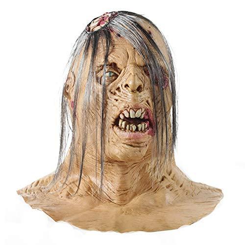 TianranRT Unheimlich Maske Halloween Toothy Mit Weiß Haar Horror Geist Maske