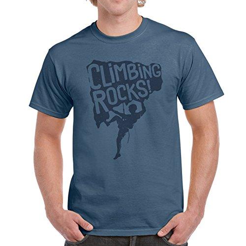 Jolly Gráfico Hombre Escalada Rocas Camiseta algodón