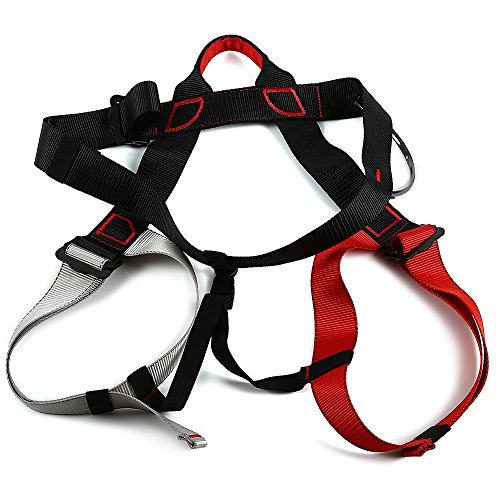 life-plus-harness-bust-seat-belt-outdoor-rock-climbing-rappelling-equipment-black-and-red