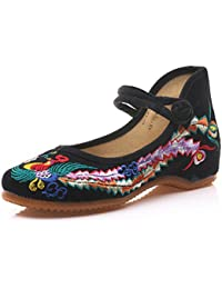 Meta-U Women Embroidered Shoes- Wedge- Canvas- Phoenix Pattern- Mary Jane Shoes
