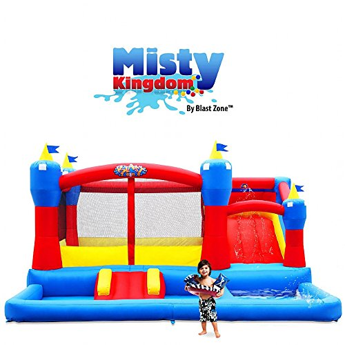 Blast Zone GE-MISTY KINGDOM Inflatable Bounce House, Water Slide and Ball Pit