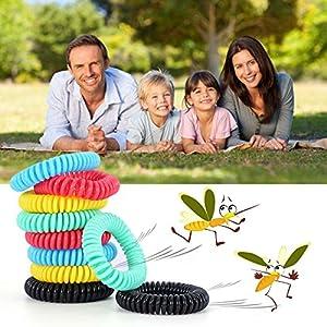 Diswoe Bracelets Anti-Moustiques, Bracelets Anti Moustique pour Adultes et Enfants, 100% Naturels Huiles essentielles, Lot DE 10
